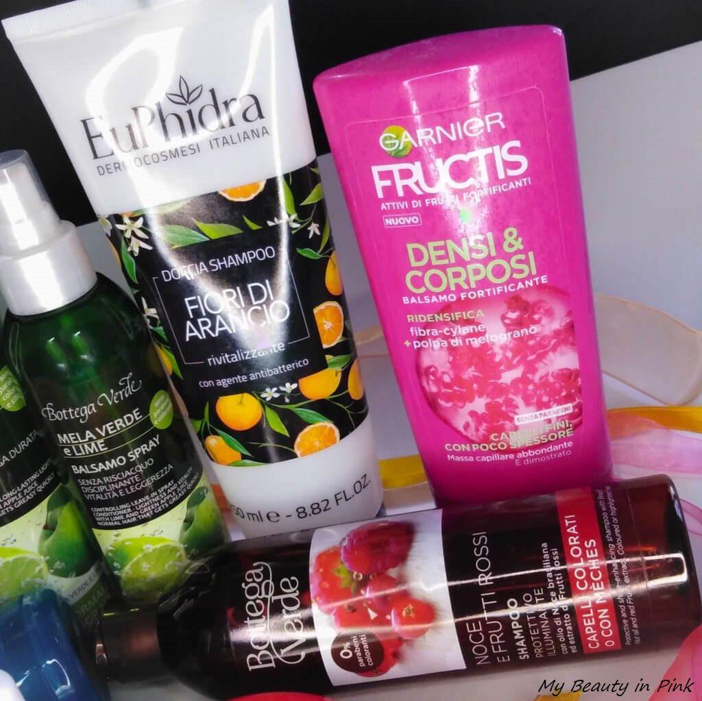 smaltimento cosmetico - Doccia shampoo Euphidra, Balsamo fortificante Fructis, Shampoo protettivo Bottega Verde